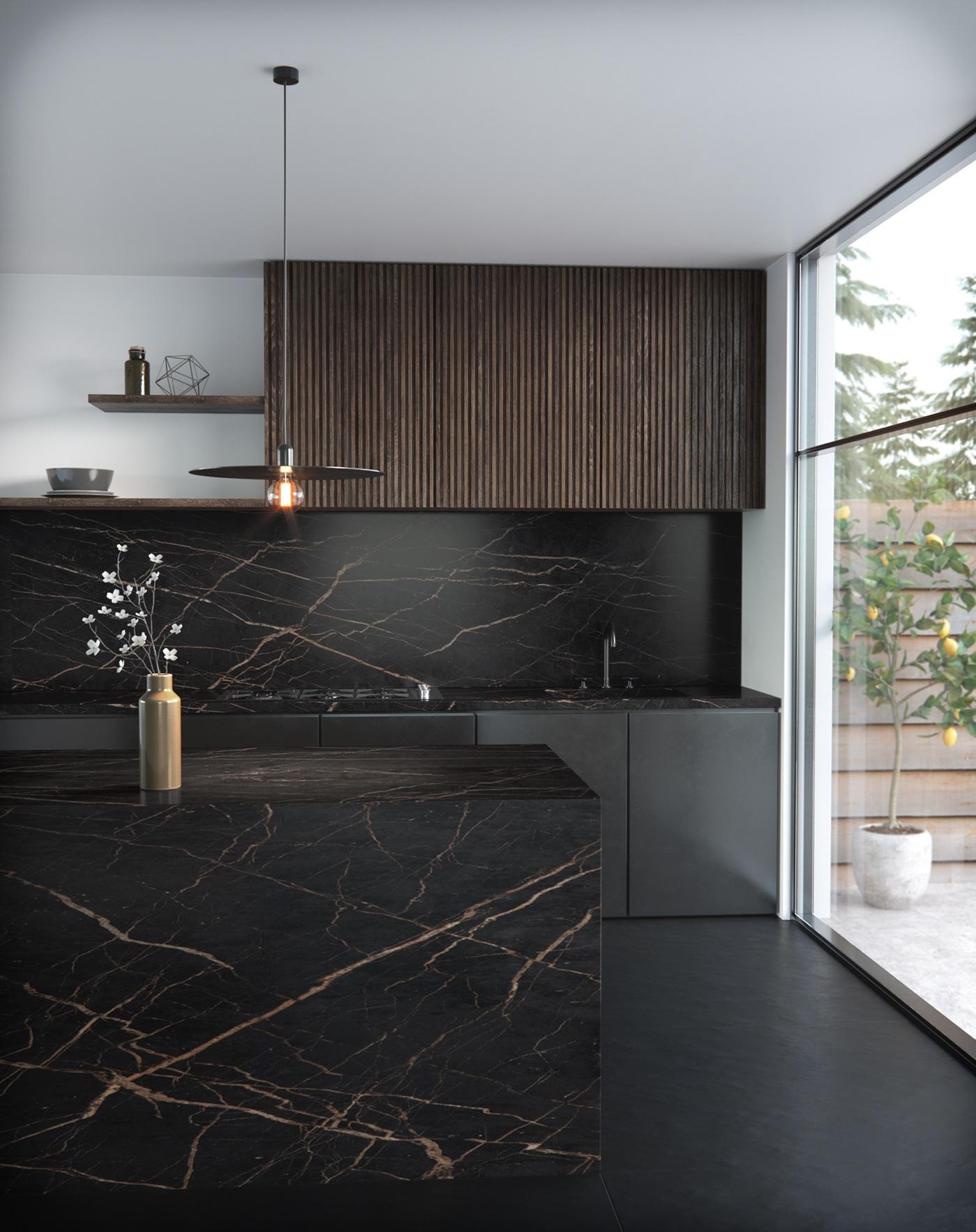 Plan-travail-cuisine-design-marbrerie-noir-dekton-STC-Paris